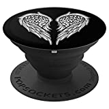 White wings on black - PopSockets Grip and Stand for Phones and Tablets