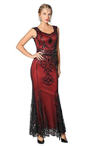 Long Flapper Dress, Sequin Beaded Long Dresses,Gatsby Theme Party Night Sexy Women Flapper Dress Prom,Purple,Small,US 4-6 ()