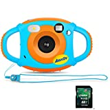 Kids Digital Camera with Memory Card, Amkov Electronic Camera for Kids, Children Creative Video Camera, 5Mp 1.77 Inch TFT Display Video Recording