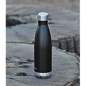 MIRA 17 Oz Stainless Steel Vacuum Insulated Water Bottle | Leak-proof Double Walled Powder Coated Cola Shape Bottle | Keeps Drinks Cold for 24 hours & Hot for 12 hours | 500 ml Matte Black