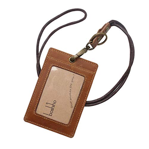 Boshiho Vertical Style Cowhide Leather ID Card Badge Holder with Heavy Duty Lanyard (Crazy Horse Leather)
