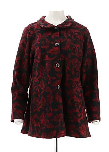 - Susan Graver Printed Polar Fleece Button-Front Jacket Black Wine M New A343083