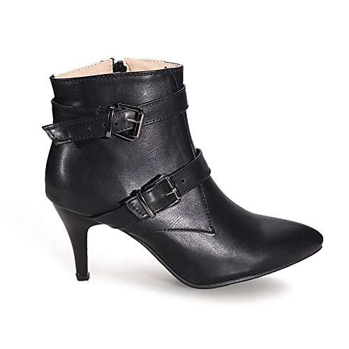 Toe Pu High Allhqfashion Zipper Women's Solid Black Closed Boots Heels Pointed 06Y0nqr