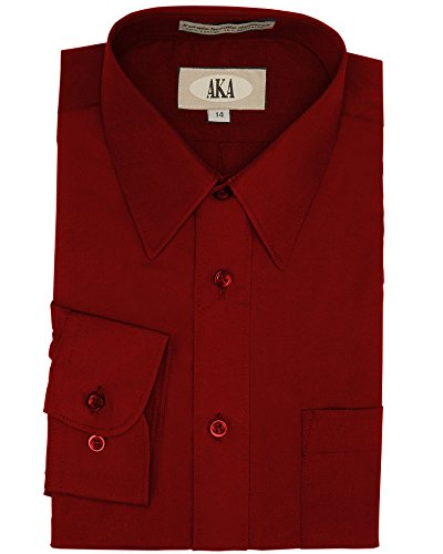 Aka Big Boys' Burgundy Formal Dress Shirt For Weddings, Communions, Ring Bearer, Proms, Graduations, Choirs, Holiday Party's, Birthday Party's And All Special Occasions (Communion Clothes For Boys)