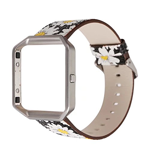 New Arrival Women PU Leather Fashion Floral Printed Replacement Band Wristband Bracelet Strap Compatible for Fitbit Blaze Smart Fitness Watch Large 6.4