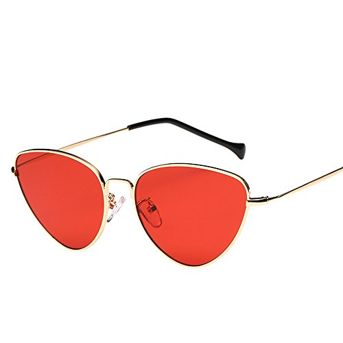 Unisex Fashion Sunglasses Hosamtel Summer Retro Cat Eye Shape Polarized Sunglasses Candy Colored Mirror Lens Travel Sunglasses Eyes Protection for Lady Women Girl Boy Men Gentleman (Red)