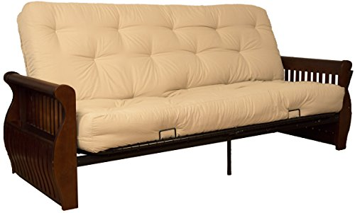 Laguna 8-Inch Loft Inner Spring Futon Sofa Sleeper Bed, Full-size, Walnut Arm Finish, Twill Natural Off-White Upholstery