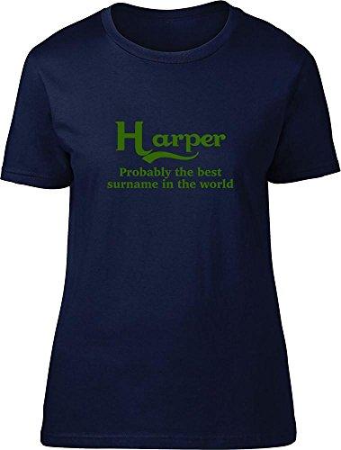 Harper probablemente la mejor apellido en el mundo Ladies T Shirt azul marino
