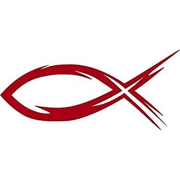 Amazon.com: Ichthys, Ichthus, RED, Christian, Jesus, Fish, Hebrew, Car, Window, Wall ...