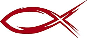 Ichthys ichthus red christian jesus fish for Fish in hebrew