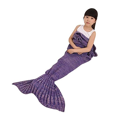 Handmade Mermaid Blanket Warm Sofa Quilt All Seasons Knitted Blanket for kids by JFQ