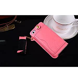 LCJ Lanyard Card PU Leather Case with Kickstand for iPhone 5S (Assorted Colors) , White