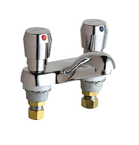 Chicago Faucets 802-665ABCP 4-Inch Centerset Lavatory Metering Faucet, Chrome by Chicago Faucets
