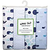 Square Cotton Flannel Baby Blankets - Pack Of 4 Multi Color