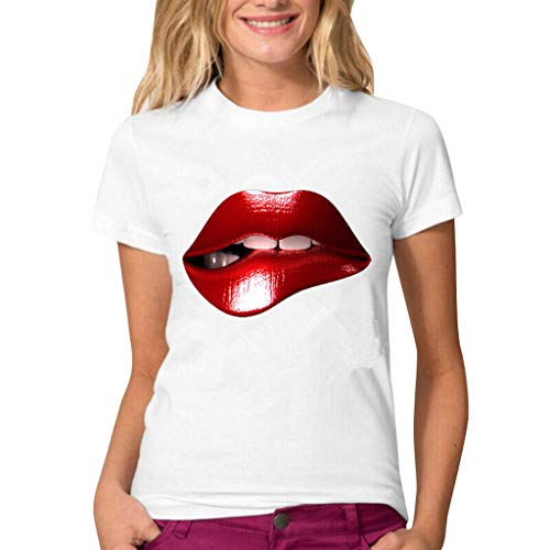 FAPIZI Women's 3D Printed T-Shirt, Plus Size Sexy Red Lips Round Neck Cotton Short Sleeved White Blouse Tops T-Shirt