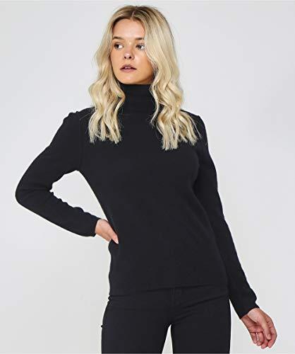 cd77a185b9014a Absolut Cashmere Women's Cashmere Polo Neck Jumper L Black: Amazon.co.uk:  Clothing