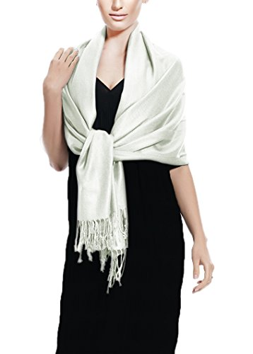 Peach Couture Soft and Silky Bamboo Rayon Pashmina Feel Shawl Scarf Wrap (Silver)