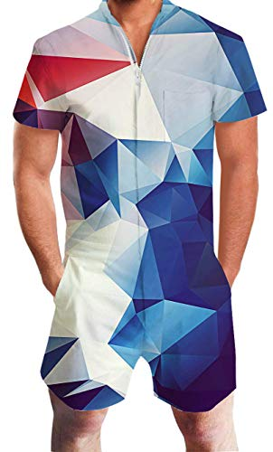 Men Bro Rompers Sets Funny Colorful Geometry Design Jumpsuit 3D Print White Short Sleeve Mid-Calf Long One Piece Pantsuit Zipper Beach Playsuits Loose Fitted Cozy Casual Vogue Clothes for Junior Boy