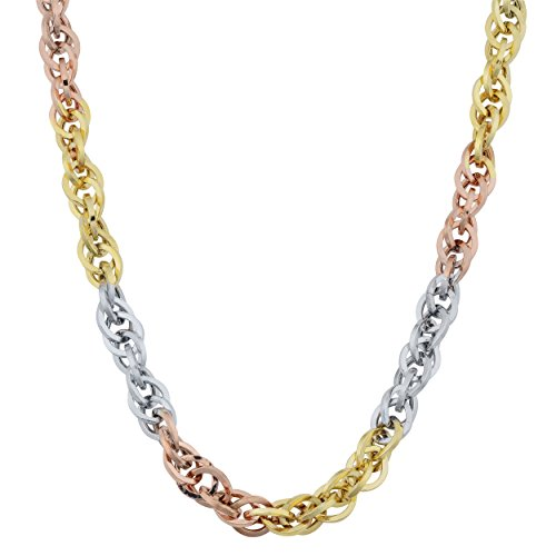 Kooljewelry 10k Tricolor Gold 3.8 mm Double Cable Link Necklace (20 inch)