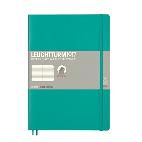 Leuchtturm1917 B5 Softcover Composition Notebook, 10 X 7 inches, 121 Lined Pages, Emerald (355294) by LEUCHTTURM1917
