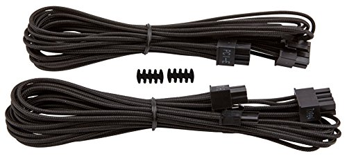 Corsair CP-8920172 Premium Individually Sleeved PCIe Cables with Single Connectors, Black, for Corsair PSUs