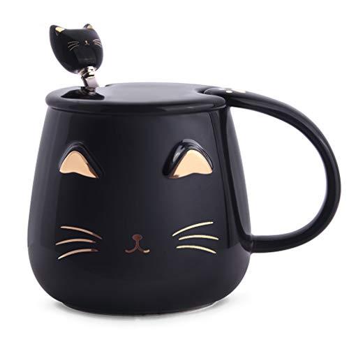 Angelice Home Black Cat Mug, Cute Kitty Ceramic Coffee Mug with Stainless Steel Spoon, Novelty Coffee Mug Cup for Cat Lovers Women Girls