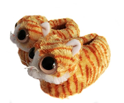 Indoor Fuzzy Winter Animal Cat Plush Soft Slippers For Women, Lovely Cat With Big Eyes (US women size 7-9, (Old Cat Lady Halloween)