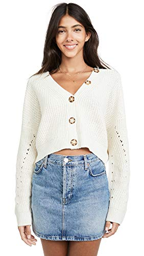 Line & Dot Women's Scarlett Cardigan, Cream, Off White, Small (Dot Cardigan Sweater)