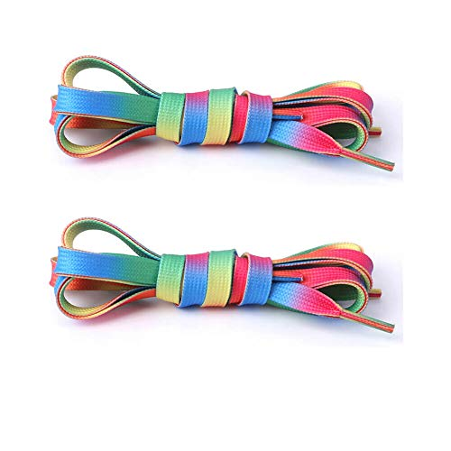 Atonfun 4 Pairs 54inch Rainbow Sneakers Shoelaces, Flat Colorful Fashion Shoelaces for Kids and Adults
