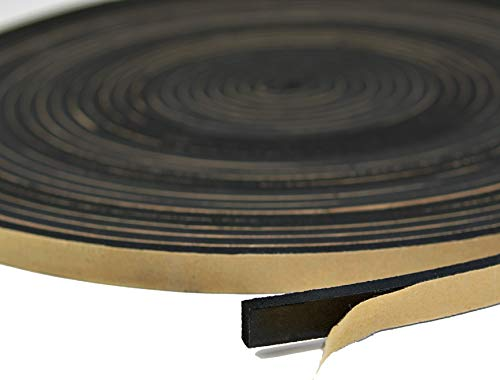 Neoprene Foam Weather Seal High Density Stripping with Adhesive Backing 1/2 Inch Wide 1/4 Inch Thick 50 Feet Long (1/2 x 1/4) ()
