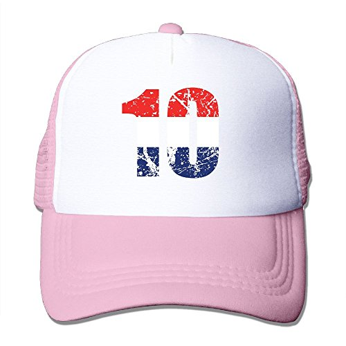 VivianYan Unisex Mesh Red White and Blue Colorblock Number Ten Hats Pink
