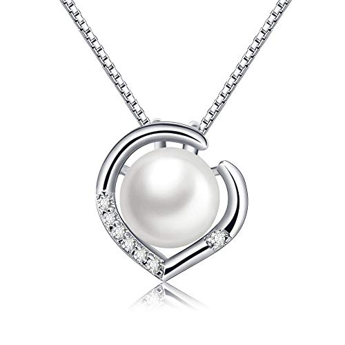 CAT EYE JEWELS 8MM Freshwater Pearl Necklace 925 Sterling Silver Heart Shape with Cubic Zirconia