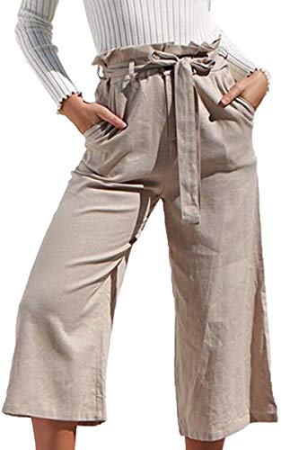 - ECOWISH Womens Cotton Soft Palazzo Wide Leg Pant with Pockets High Waist Casual Loose Flowy Pants with Belt Khaki L