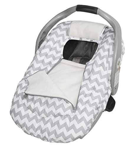 Jolly Jumper Arctic Sneak-A-Peek Infant CarSeat Cover With Attached Blanket, Weatherproof - Gray Chevron
