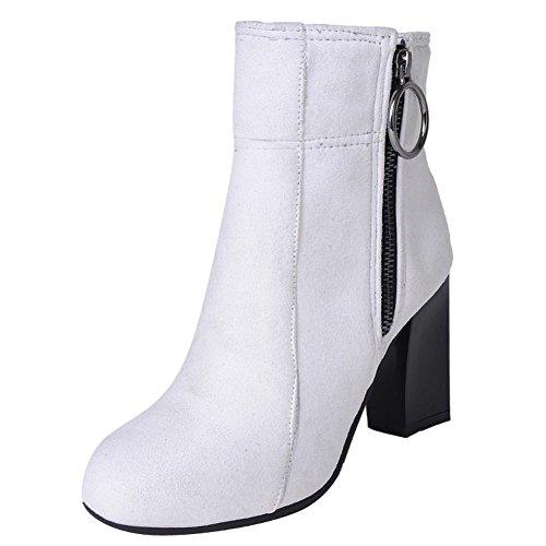 Mee Shoes Damen Blockabsatz Reißverschluss Nubukleder Stiefel Weiß