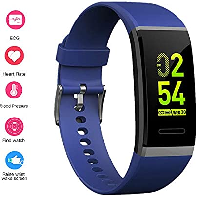 MHCYKJ Fitness Tracker Blood Pressure Heart Rate Monitor Smart Band Pedometer Fitness Smart Wristband Abnormal Heart Rate Warning Blue Estimated Price -