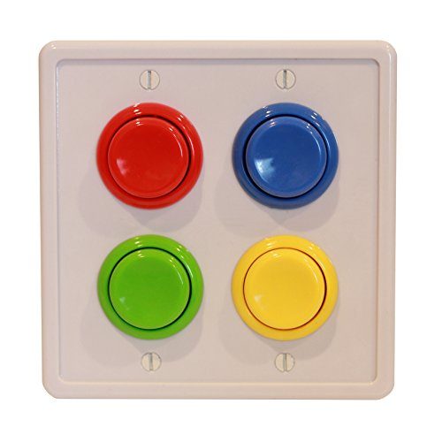 Rocker Light Switch Cover (Arcade Light Switch Plate Cover, (White/Red,Blue,Green,Yellow) Double Switch, 2-Gang Standard Size Rocker Wall Plate, Game Room Decorator, Kid Bedroom Wallplate, Faceplate Replacement)