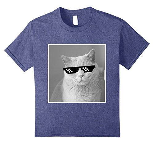 Kids Funny Cute Cat Deal With It Sunglasses T Shirt 12 Heather - Sunglasses Meme Big