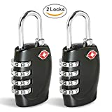 TSA Luggage Locks CFMOUR 4-Dial Padlocks for Travel Suitcase Case 2 Pack - Black