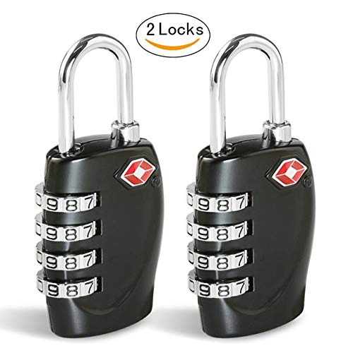 TSA Luggage Locks CFMOUR 4-Dial Padlocks for Travel Suitcase Case 2 Pack - Black by CFMOUR