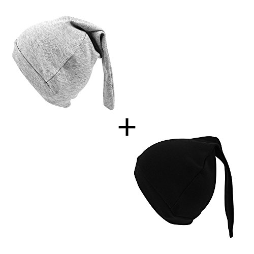 Iridescentlife Solid Newborn Tire Beanies Cotton Girls Boys Hat (Black+Gray)