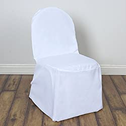 BalsaCircle 100 pcs White Polyester Banquet Chair Covers Slipcovers for Wedding Party Reception Decorations