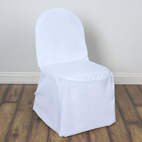 BalsaCircle 50 pcs White Polyester Banquet Chair Covers Slipcovers for Wedding Party Reception Decorations (Wedding Covers White Chair)