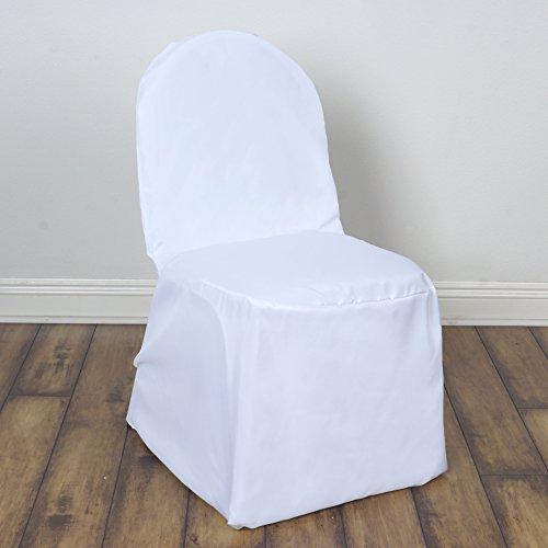 Banquet Chair Covers Wholesale (BalsaCircle 100 pcs White Polyester Banquet Chair Covers Slipcovers for Wedding Party Reception Decorations)