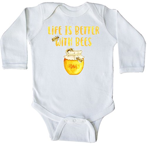 (inktastic - Life's Better with Bees 2 Long Sleeve Creeper 6 Months White 2d86d )