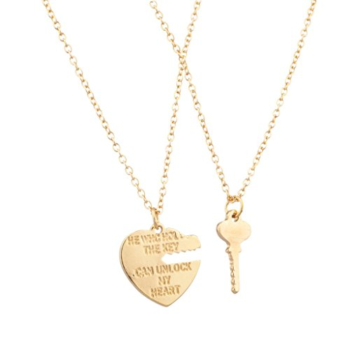 Lux Accessories He Who Holds The Key Can Unlock My Heart BFF Best Friends Forever Set (2 PC)
