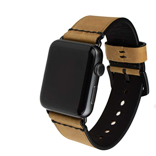 Grit & Grazia Premium Leather Band for Apple Watch 42mm or 44mm, Stylish Replacement Apple Watch Leather Band for iWatch Series 4, Series 3, 2, and 1 with Stainless Steel Buckle (Light Brown) ()