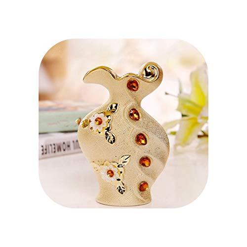Cameo enchase Vase Gilded Flower Holder Resin Ceramic Flower Vase Decorative Vases Golden Wedding Decoration Plated Vase,A