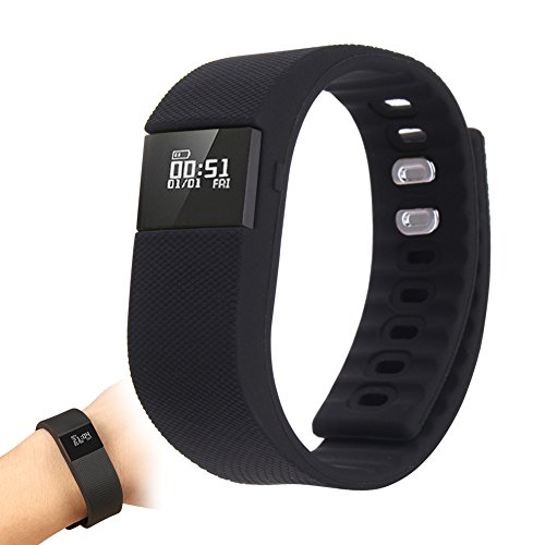 Hiro23 Best Fitness Activity Tracker Watch, Pedometer, Step Counter, Calorie Counter, Distance, Sleep Monitor, Bluetooth 4.0 for Android 4.4 or IOS 7.1 and above ONLY. (Black)