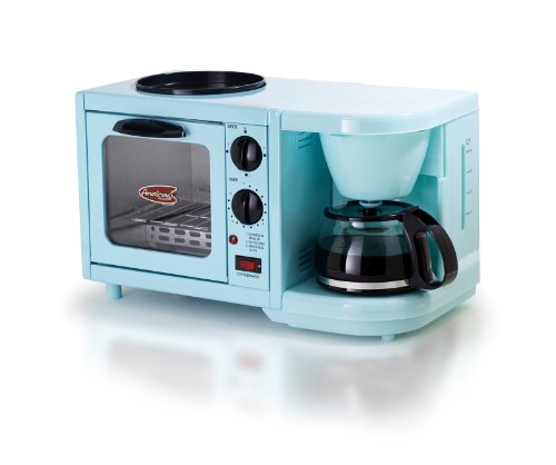 Elite Cuisine EBK-200BL Maxi-Matic 3-in-1 Multifunction Breakfast Center, Blue (Coffee Maker With Toaster Oven compare prices)